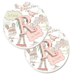 Letter R Love in Paris Pink Set of 2 Cup Holder Car Coasters CJ2002-RCARC
