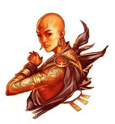 Kadila adh Vitendi: Calishite human expert 2/monk 4/Sun Soul monk 5. Order of the Sun Soul. Waterdeep.