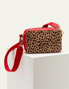 Valeria Crossbody Bag - Natural Cheetah/Red | Boden UK Fabric Storage, Bag Storage, Satchel, Crossbody Bag, Classic Camera, Boden Uk, Natural Women, My Bags, Cheetah