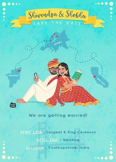 Custom illustrated wedding invitations, unique to each couple, designed by Mithila Ananth Wedding Invitation Matter, Engagement Invitation Cards, Marriage Invitation Card, Indian Wedding Invitation Cards, Marriage Cards, Creative Wedding Invitations, Wedding Cards, Invites, Party Invitations