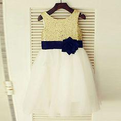 A-line+Knee-length+Flower+Girl+Dress+-+Chiffon+Jewel+with+Bow(s)+Lace+Sash+/+Ribbon+Pleats+–+NZD+$+107.91