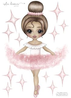 Ariana the Ballerina Fabric Wall Decals – Isla Dream Prints Child Smile, Kids Wall Decals, Beautiful Family, Illustrations, Pretty In Pink, Art For Kids, Whimsical, How To Draw Hands, Painting