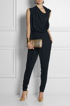 Lanvin jumpsuit and earrings, Maiyet cuff, Christian Louboutin shoes, Nina Ricci clutch. Not sure I'd style it the same way, but the jumpsuit is everything. Fashion Mode, Love Fashion, Fashion Beauty, Womens Fashion, Mode Style, Style Me, Quoi Porter, Cooler Look, Retro Stil
