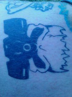 Skull gas mask tattoo on my leg