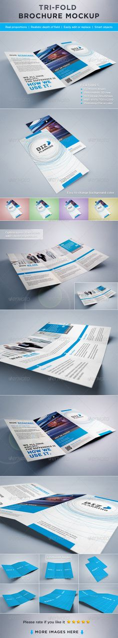 Buy Photorealistic Tri-Fold Brochure Mock-ups by on GraphicRiver. Photorealistic Tri-Fold Brochure Mock-ups. Easy to replace pages with your designs using smart objects, double-click . Free Mockup Templates, Event Flyer Templates, Brochure Design, Brochure Template, Brochure Ideas, Magazin Design, Mockup Photoshop, Business Card Logo, Colorful Backgrounds