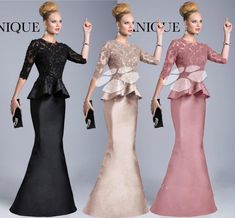 Mermaid Evening Dresses With Peplum Coral Black Ivory Crew Neck Lace Sheer Long Sleeve Sheer Back Long Satin Beaded Prom Formal Gowns GM Two Piece Evening Dresses, Long Sleeve Evening Dresses, Designer Evening Dresses, Mermaid Evening Dresses, Formal Evening Dresses, Formal Gowns, Evening Gowns, Prom Dresses, African Attire