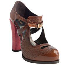 Fendi     brown leather cutout contrast heel pumps
