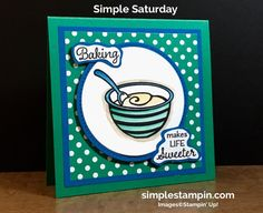"Good Morning and as promised – I told you that I was ""mixing"" something up for you today! Here is my Simple Saturday card for you….no envelope as this is a card that I will slide in some goodies! I should have taken a picture of the goodies to show you how I adore …"