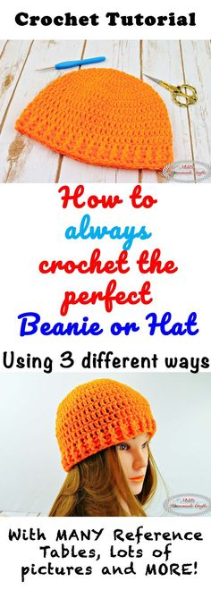 How to always crochet the perfect beanie and hat no matter which head size #crochet #hat #beanie #tutorial #perfect #always #referencetables #howto