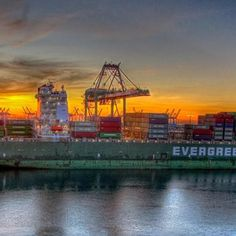 Cargo ship being loaded at the Port of Los Angeles at sunrise.  Photograph by Jamey Firnberg