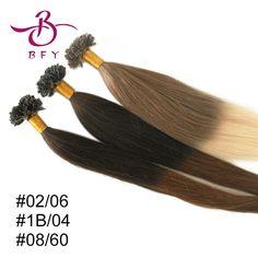 Remy DEL PELO HUMANO extensiones de cabello uñas punta 100 S Queratina 45cm50cm55cm60cm66cm 1g pelo virginal brasileño del pelo humano cabeza llena virgen