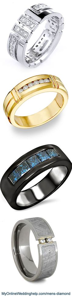 Men's unique diamond wedding bands.The bottom one is made from an etched meteorite. The third has black gold with channel set blue diamonds (but you can get other diamond colors). The second one has an unusual style (there's a women's style too), and the top one has an interesting pattern of accent diamonds.