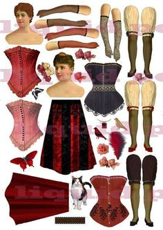 Collage Sheets No 200 Paper Dolls Corsets and wings in 3 digital sheets emailed to you