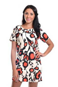 Red Label   Orange floral tunic with zip, £15 #dress #loveredlabel #floral #tunic www.loveredlabel.com