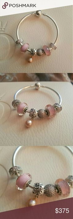 Beautiful pink themed Pandora charm bracelet! This beautiful pink themed Pandora bracelet has 6 charms! Including the pink my princess charm with a beautiful pink tinted pearl that is retired and extremely hard to find.  This is brand new and has never been worn. Makes a beautiful gift or addition to any Pandora collection! Pandora Jewelry Bracelets
