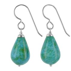 Aqua Blue Green Ocean Jasper 15x11mm Drop Brioletes Weighing 20 Cts Handcrafted Earrings Made with Sterling Silver
