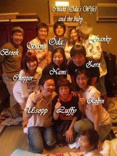 Voice Cast of One Piece's Straw Hat Crew, Oda Eiichiro (Creator of One Piece), Oda's Wife, and Their Baby