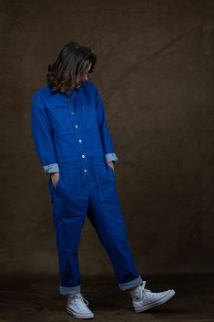 Oh My Pattern - Patron Combinaison Jean-Paul - Ready To Sew Forever21, Capsule Wardrobe, Slate Blue Bridesmaid Dresses, American Girl, Salopette Jeans, Sewing Jeans, Patterned Jeans, Boiler Suit, Workwear Fashion
