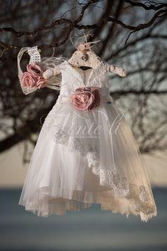 Φόρεμα βάπτισης Vinte Li 2812 με ασορτί κορδέλα., annassecret