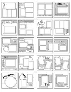 copic color combinations Scrapbook Page Sketches by Katie Butler Scrapbook Layout Sketches, Scrapbook Templates, Scrapbook Designs, Card Sketches, Baby Scrapbook Layouts, Photo Album Scrapbooking, Scrapbook Albums, Scrapbook Cards, Simple Scrapbooking Layouts
