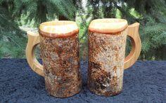 Wooden beer mugs, birch mugs, beer steins