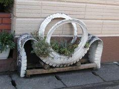 Large tire planter.