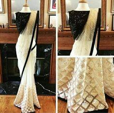 * Saree Fabrics: Nylon Mono Net * Saree Color: Off White * Saree Length: M * Blouse Fabrics: Banglori Sequence * Blouse Color: Black * Blouse Length: M * Inner : 2 m * Work: Sequence * Look: Designer Saree * Wash Care: First Saree Designs Party Wear, Party Wear Sarees, Saree Blouse Designs, Indische Sarees, Party Kleidung, White Saree, Black Saree, Black Blouse, Sari Dress