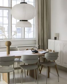 Our Stone Washed Curtains with ties in Silver found perfect home in Denmark.  Thank you @majasode for sharing. Linen Curtains, Curtain Fabric, Denmark, Ties, Dining Table, Stone, Luxury, Interior, Silver