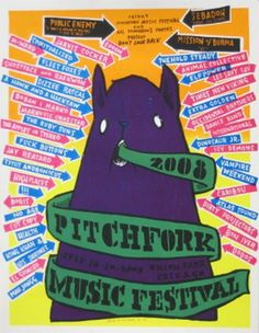 Pitchfork Music Festival 2008 Poster By Jay Ryan Musikfestival Poster, Poster Prints, Festival Posters, Concert Posters, M Ward, Pitchfork Music Festival, Jay Ryan, Comic Styles, Band Posters