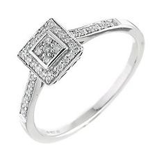9677070 - 9ct white gold fifteen point diamond cluster ring