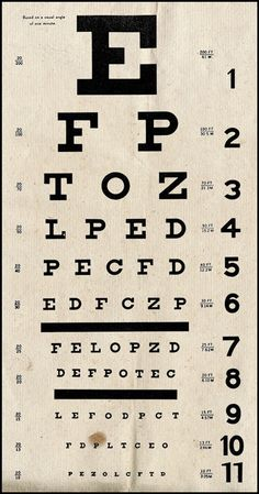 Vintage Eye Chart.   I'm at the eye doctor! I got those drops and I can hardly see my iPod let alone the eye chart