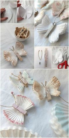 Paper butterflies DIY step by step {video - DIY Papier - Baby Board Kids Crafts, Diy And Crafts, Paper Flower Garlands, Paper Flowers, Diy Christmas Decorations Easy, Christmas Diy, Diy Paso A Paso, Diy 2019, Papier Diy