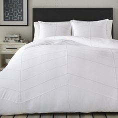 Suit up your bed in modern style with the Courtney Duvet Cover Set by City Scene . A clean white color palette is offset by just a touch of thoughtful. Twin Comforter, King Duvet, Queen Duvet, White Comforter Bedroom, Duvet Bedding, White Bedroom, Bed Sets, Duvet Sets, Duvet Cover Sets