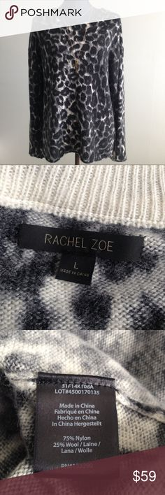 """Rachel Zoe Leopard Print Sweater Measurements laying flat approx: pit to pit 23"""", length 24"""" and 27"""" in the back. Medium lightweight fabric. 75% nylon, 25% wool. Color:  black grey & cream. This could also fit a medium and a small as well depending if you like the oversized baggy look Rachel Zoe Sweaters Crew & Scoop Necks"""