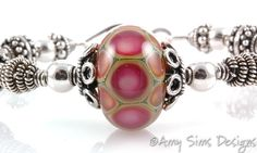 Sterling Silver Pink Lampwork Wire Wrapped by AmySimsDesigns, $145.00