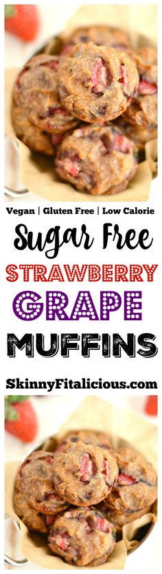 These Strawberry Grape Muffins are moist and naturally sweet. A sugar free snack that's Vegan, Gluten Free and has just 115 calories! Gluten Free + Low Calorie + Vegan
