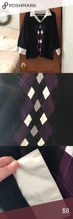 """Argyle shirt/sweater (""""shell"""") (Fake) shirt/sweater make up sweater, shirt combo argyle decent used condition color faded a bit, price reflects this. Perfect for business casual. unknown Tops Blouses"""