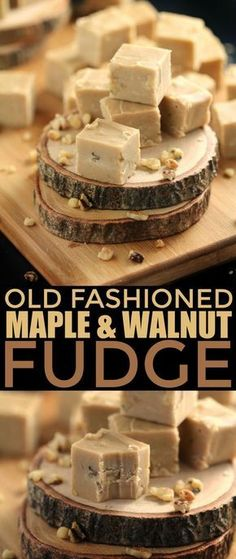 Old Fashioned Maple & Walnut Fudge - Frugal Mom Eh! - - Super rich and ever-so-creamy, this Old Fashioned Maple & Walnut Fudge is the perfect treat for maple syrup season. Made with real Maple Syrup. Just Desserts, Delicious Desserts, Yummy Food, Candy Recipes, Dessert Recipes, Old Recipes, Maple Syrup Recipes, Maple Syrup Fudge Recipe, Cranberry Walnut Fudge Recipe