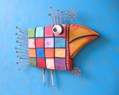 Checkered Chicken Original Found Object Wall by FigJamStudio Would make a great fused glass wall art