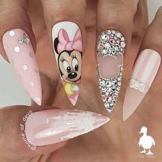 """your success is our reward"" – Ugly Duckling Nails Inc. - You are in the right place about nail art yellow Here we offer you the most beautiful pictures abo - Disney Acrylic Nails, Summer Acrylic Nails, Best Acrylic Nails, Acrylic Nail Designs, Summer Nails, Nail Art Designs, Disney Nail Designs, Mickey Nails, Minnie Mouse Nails"