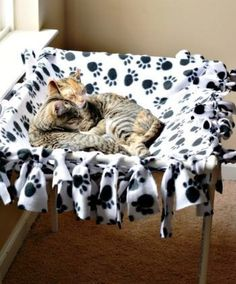 DIY No Sew Cat Hammock | 25 Adorable DIY Projects You and Your Pet Will Be Fascinated About #dogsdiyprojects