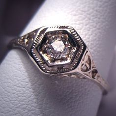 Antique Diamond Wedding Ring Vintage Art Deco White Gold.