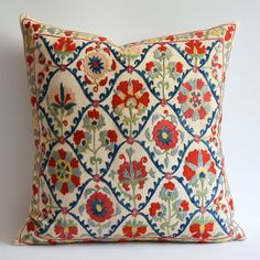 Items similar to Sukan / Vintage Hand Embroidered Silk Suzani Pillow, Organic Modern Bohemian Throw Pillow. on Etsy Diy Pillow Covers, Diy Pillows, Decorative Pillows, Throw Pillows, Vintage Embroidery, Embroidery Patterns, Lazy Daisy Stitch, Lesage, Passementerie