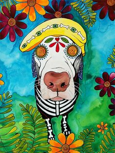 This is Nestle, the Chocolate Lab. If you would like me to paint a portrait of your pet, call/text 512-963-4892, email robiniartist@gmail.com, visit www.robiniart.com or message me on www.facebook.com/robiniart. Do it! :-) #dayofthedead, #diadelosmuertos, #sugarskull, #art, #design, sugar skull, day of the dead, dia de los muertos, pet portraits, DON'T STEAL MY ART! Thanks!