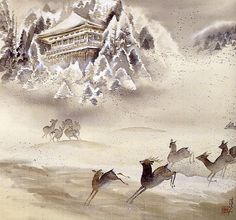 Tomita Keisen: Deer in the snow, 1930. Ink and color on silk, 66x72 cm. Kyoto Municipal Museum of Art.