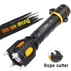 Extremely High quality Outdoor Tactical self defense weapons Shocker Flash light XML T6 LED Tactical Flashlight tactical Defense Shock Rechargeable. The spikes on the flash light could be used to atta