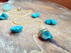 Ágata - Collar Druzy Ágata azul. Cadena Oro Goldfilled 14K - hecho a mano por Kandy-Disenos en DaWanda