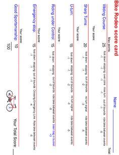 Bike rodeo score card