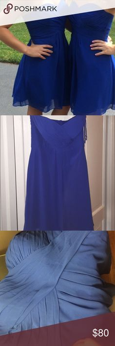 Beautiful occasion dress Corset tie up back.... Chiffon ... Sweetheart neckline. Worn once.  Small water stain on front can barely see.... Could most likely be removed w dry cleaning... No alterations Bill Levkoff Dresses