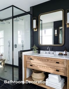 New Bathroom Decoration Ideas #bathroomdecoration Bathroom Paint Colors, Wood Vanity, Vanity Redo, Vanity Shelves, Mirror Vanity, Wall Shelves, Bathroom Interior, Bathroom Ideas, Bathroom Organization